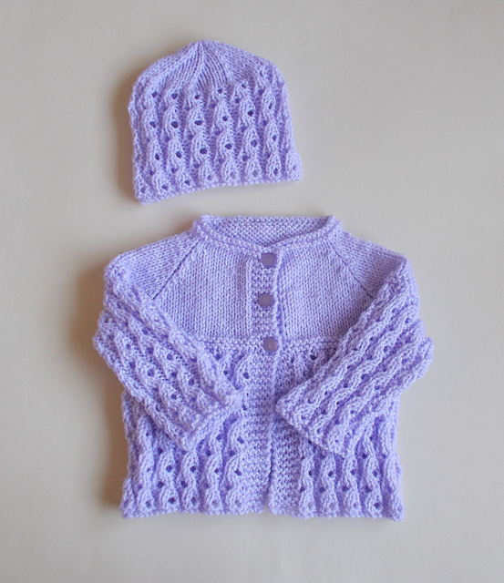 Knitting Patterns Galore - Lilac Blossom Baby Set