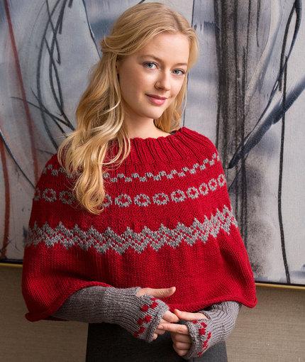 Knitting Patterns Galore Fair Isle Poncho Arm Warmers