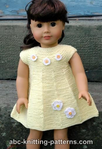 Knitting Patterns Galore American Girl Doll Garter Stitch Summer Dress