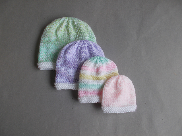 Knitting Patterns Galore - Tiny Topaz - Premature Baby Hats
