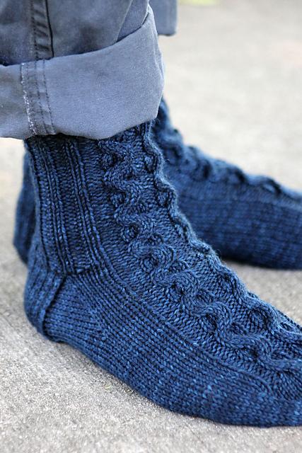 Knitting Patterns Galore - Ribbon Cable Socks