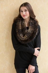 Mesh Cowl or Capelet with Fur Trim