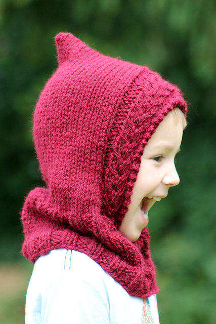 Knitting Patterns Galore Little Red Hooded Cowl