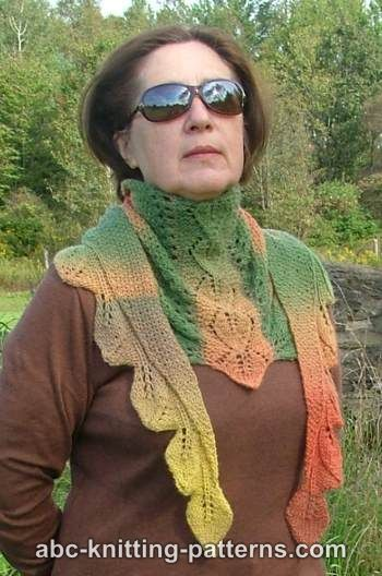 Knitting Patterns Galore Autumn Leaves Small Triangular Shawl Baktus