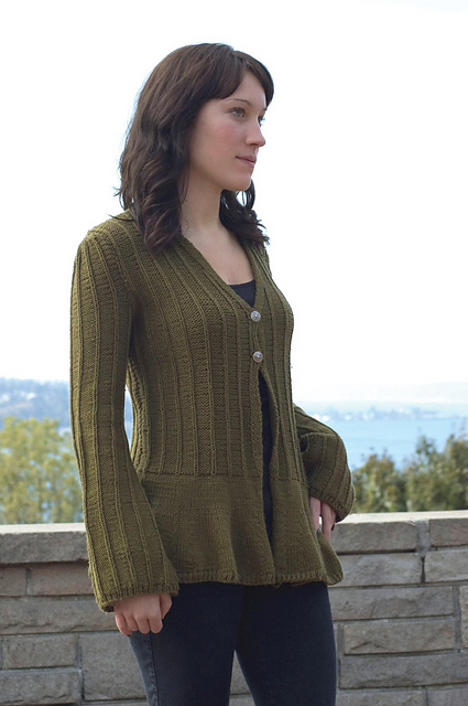 beb4d550c4e4 Flared Bottom V-Neck Cardigan Free Knitting Pattern. Flared Bottom V-Neck  Cardigan