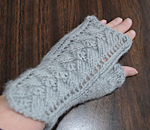 Knitting Patterns Galore Pyramid Lace Fingerless Gloves