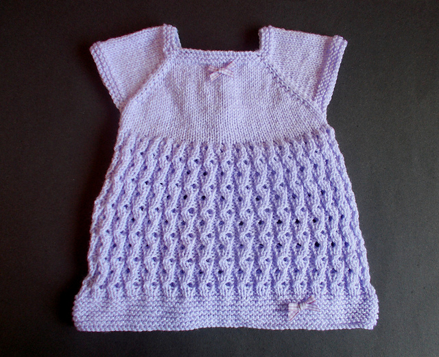 Knitting Patterns Galore Lilac Blossom Baby Dress