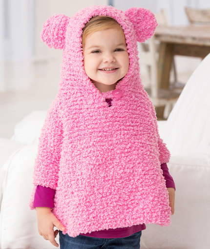 Knitting Pattern Baby Poncho With Hood : Knitting Patterns Galore - Playful Hooded Poncho