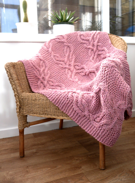 Knitting Patterns Galore Cable Lap Blanket