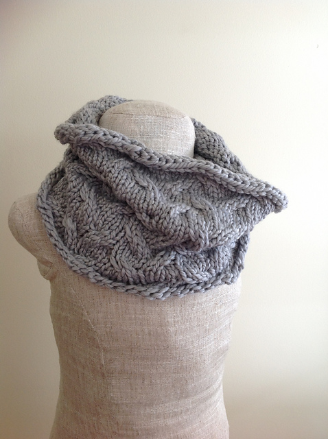 Knitting Patterns Galore - Grey Cabled Cowl