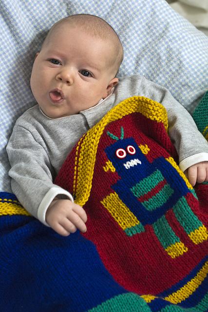 Knitting Patterns Galore Robot Blanket