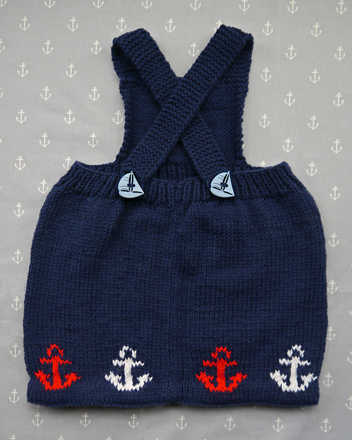 e389e77e6f60 Baby Sailor Pinafore Dress. Click to Enlarge. Free knitting pattern using dk-weight  ...