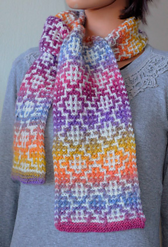 Knitting Patterns Galore Mosaic Tile Scarf