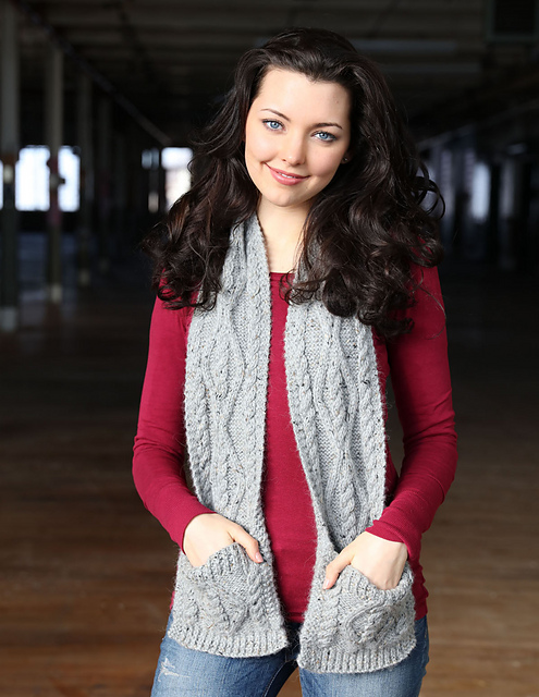 Knitting Patterns Galore - Cabled Pocket Scarf
