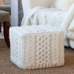 Cabled Ottoman Cover
