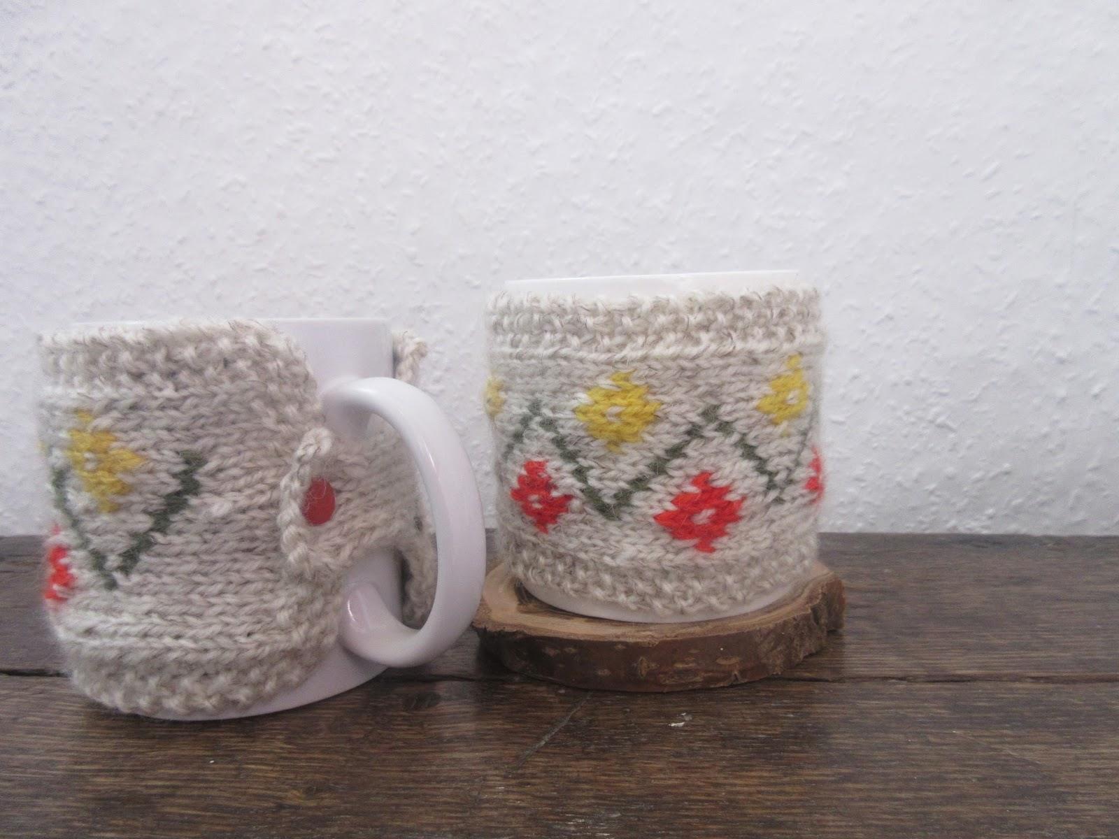 Knitting Patterns Galore - Spring Flowers mug cozy