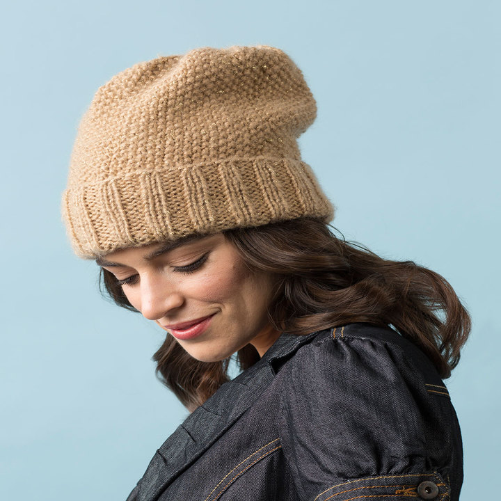 Knitting Patterns Galore - Seed Stitch Slouchy Hat