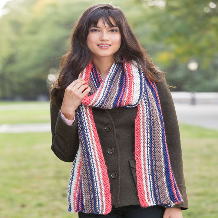 Knitting Patterns Galore Market Square Striped Scarf