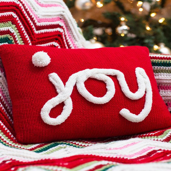 Knitting Patterns Galore - Holiday JOY Pillow