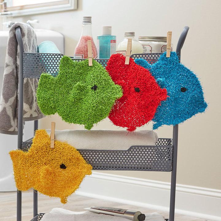 Knitting Patterns Galore School Of Fish Scrubbies