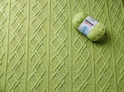 Moss Diamonds Cabled Baby Blanket
