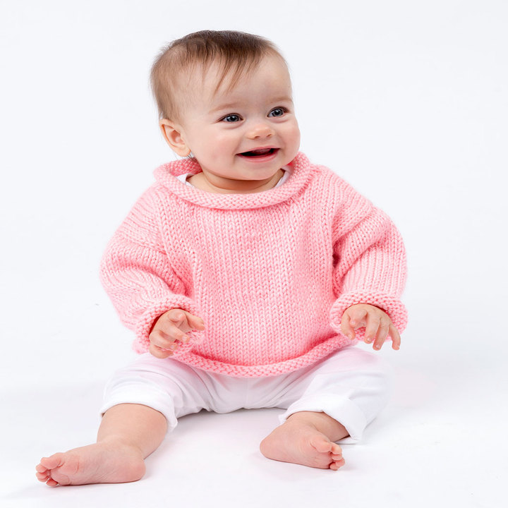 Knitting Patterns Galore - Pretty-n-Pink Baby Pullover