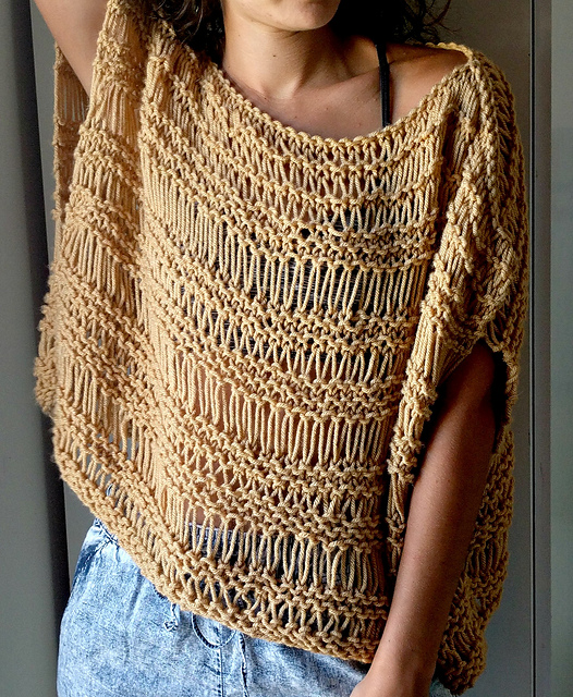 Free Drop Stitch Knitting Patterns : Knitting Patterns Galore - Dropped Stitch Top