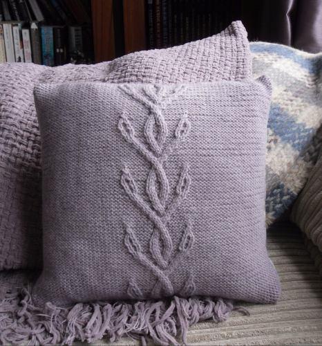 Knitting Patterns Galore Cornflower Cable Cushion