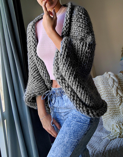 Knitting Patterns Galore Super Chunky Slouchy Shrug