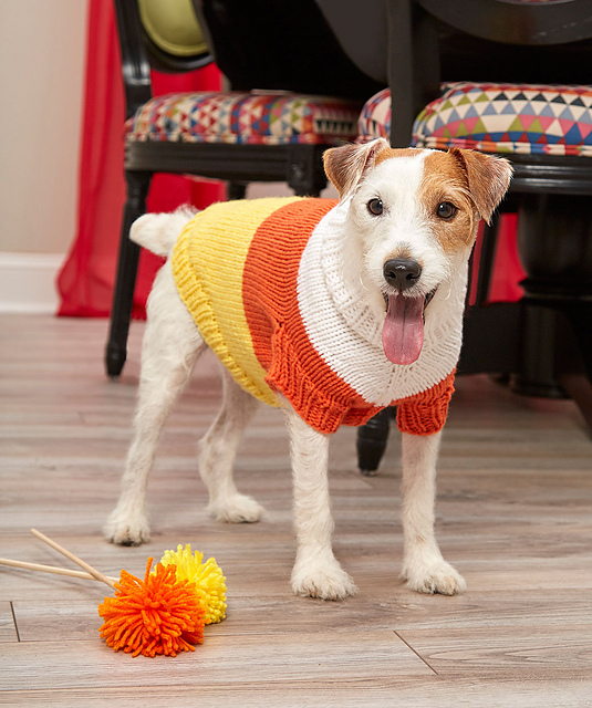 Knitting Patterns Galore Candy Corn Dog Sweater