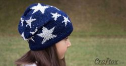 Slouchy Beanie with Stars.