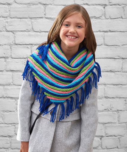 Knitting Patterns Galore - Girls  Fringed Scarf
