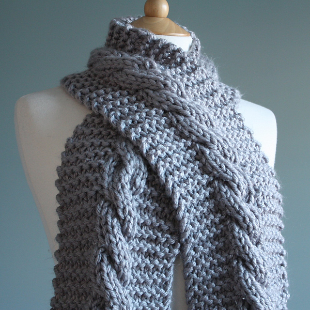 Baby Shawls Knitting Patterns Free : Knitting Patterns Galore - Super Chunky Cable Scarf