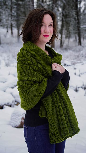 Knitting Patterns Galore Chunky Cable Wrap