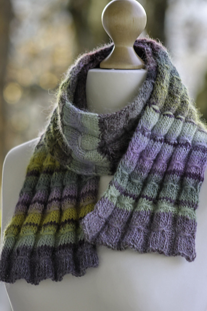 Knitting Patterns Galore Gathered Rib Scarf