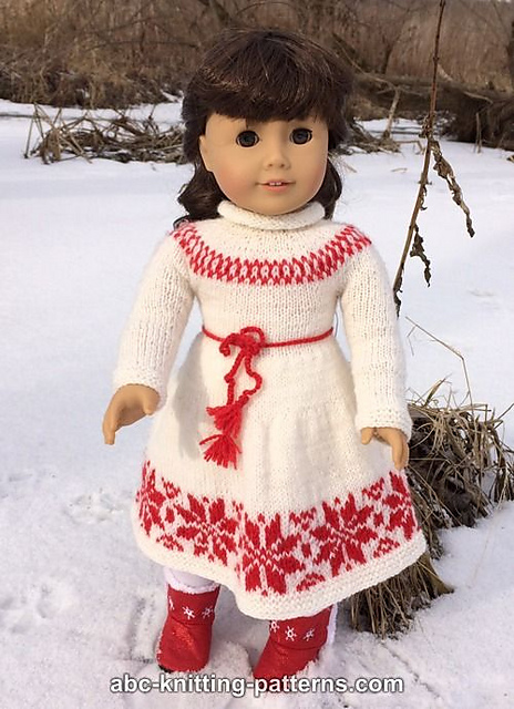 Knitting Patterns Galore American Girl Doll Nordic Winter Dress