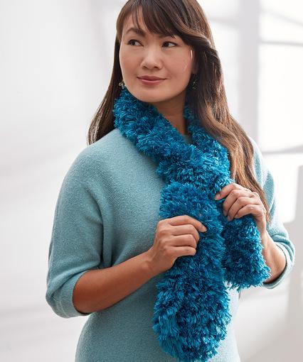 Knitting Patterns Galore Trendy Fur Keyhole Scarf