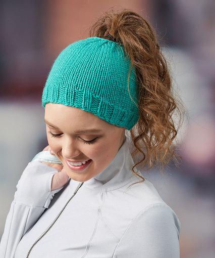 Knitting Patterns Galore Messy Bun Knit Hat