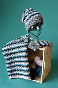 EKG Set Hat, Cowl, Mitts
