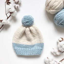 Basic Two-Tones Hat With Pompom