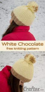 WhiteChocolate hat with pompom