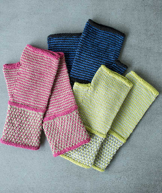Knitting Patterns Galore Spots And Stripes Fingerless Gloves