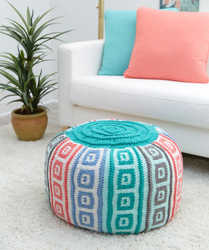 Knitting Patterns Galore Mosaic Squares Pouf Stunning Turquoise Knitted Pouf