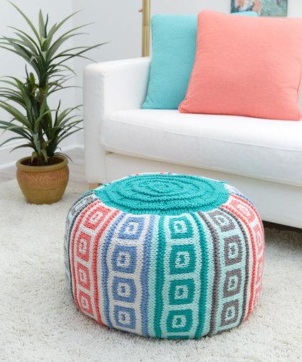 Knitting Patterns Galore Mosaic Squares Pouf Stunning Turquoise Knitted Pouf