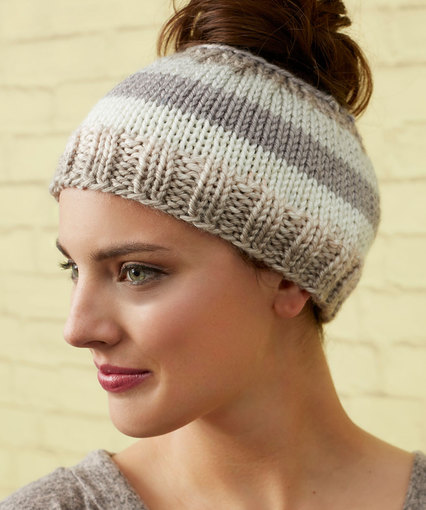 Striping Messy Bun Hat Free Knitting Pattern. Striping Messy Bun Hat 7bb35210d24