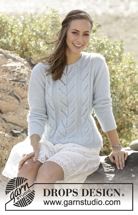 Knitting patterns galore summer sky a free knitting pattern using aran weight yarn pattern attributes and techniques include lace long sleeve round neckline set in sleeve dt1010fo