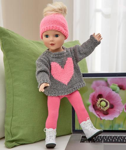 5f79dacd75b Love My Doll Sweater   Messy Bun Hat Free Knitting Pattern. Love My Doll  Sweater   Messy Bun Hat