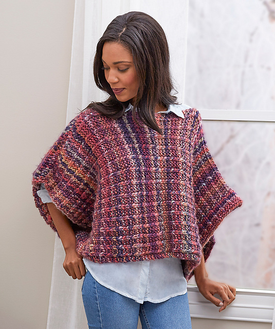 Knitting Patterns Galore Easy Boat Neck Poncho