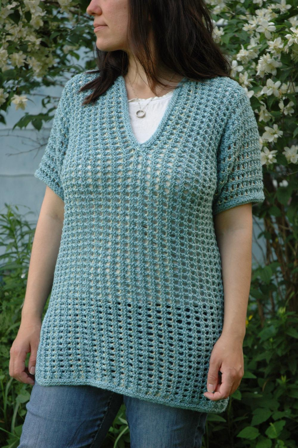 Knitting Patterns Galore Subtle Mesh Summer Sweater