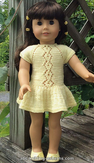 Knitting Patterns Galore American Girl Doll Lace Cable Summer Dress